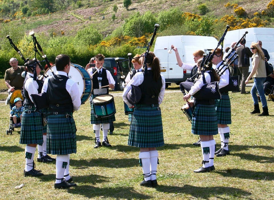 The Inveraray & District Juvenile Pipe Band warming up at the local Seafood Show held each May